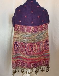 Accessories - Boho Purple Paisley Print Fringed Wrap Scarf